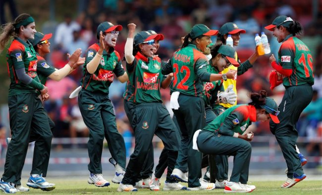 Bangladeshi women\'s cricket team celebrate after clinching Women\'s Asia Cup after beting India in finals, in Kuala Lumpur, Malaysia on Sunday. PTI Photo