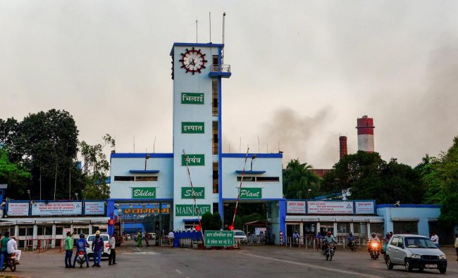 Smoke rises after a blast at the Bhilai Steel Plant of state-owned SAIL in Durg, Tuesday. (PTI photo)