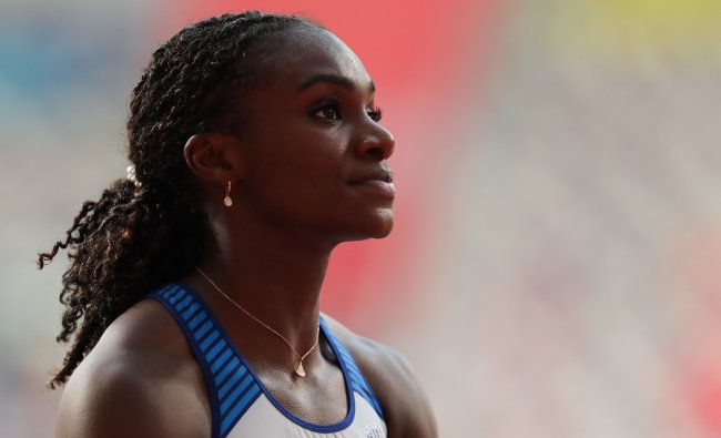 Britain\'s Dina Asher-Smith waits for the results after competing in the Women\'s 100m heats at the 2019 IAAF World Athletics Championships at the Khalifa International stadium in Doha. AFP
