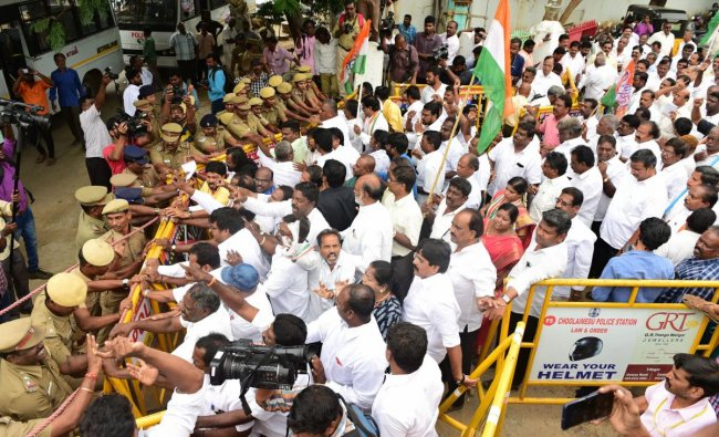 Tamil Nadu Congress Committee members stage a protest against the arrest of senior party leader and former finance minister P Chidambaram in the INX Media case at Satyamurti Bhavan, in Chennai, Thursday, Aug 22, 2019. (PTI Photo)