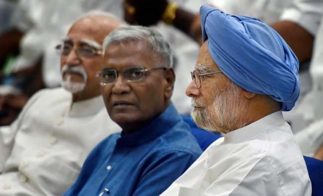 Former prime minister Manmohan Singh, former vice president Hamid Ansari and CPI leader D Raja during the book launch of \'Jawaharlal Nehru\' an illustrated biography by A Gopanna, in New Delhi, on Sunday. PTI Photo