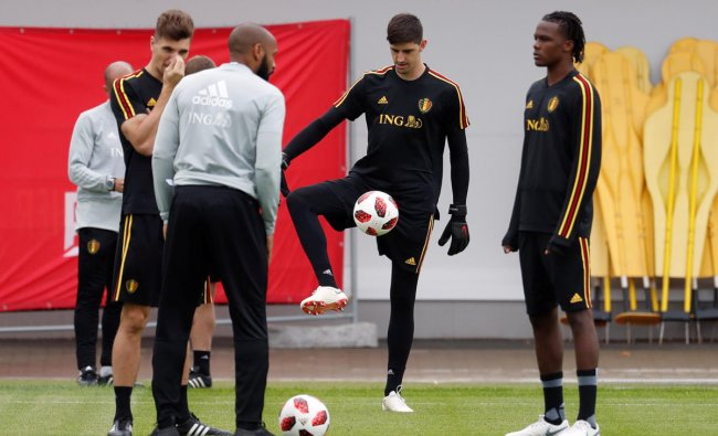 Belgium assistant coach Thierry Henry, Thibaut Courtois and Dedryck Boyata during training. Reuters
