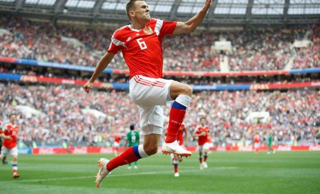 World Cup - Group A - Russia vs Saudi Arabia : Russia\'s Denis Cheryshev celebrates scoring their second goal in Luzhniki Stadium, Moscow, Russia. REUTERS