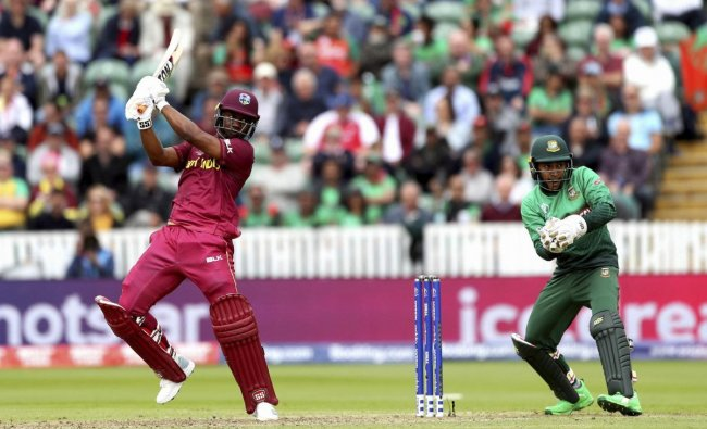 West Indies\' Evin Lewis bats during the Cricket World Cup match between West Indies and Bangladesh at The Taunton County Ground, Taunton, south west England, Monday June 17, 2019. AP/PTI