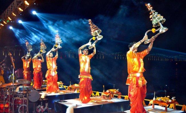Varanasi: Temple priests perform \'Ganga Aarti\' on the occassion of \'Kartik Purnima\' and \'Dev Diwali\' festival at a ghat, in Varanasi, Friday, Nov.23, 2018. (PTI Photo)