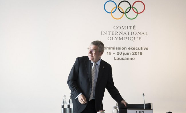 International Olympic Committee, IOC, President Thomas Bach from Germany, reacts prior to the opening of the International Olympic Committee, IOC, executive board meeting in Lausanne, Switzerland, Wednesday, June 19, 2019. AP/PTI