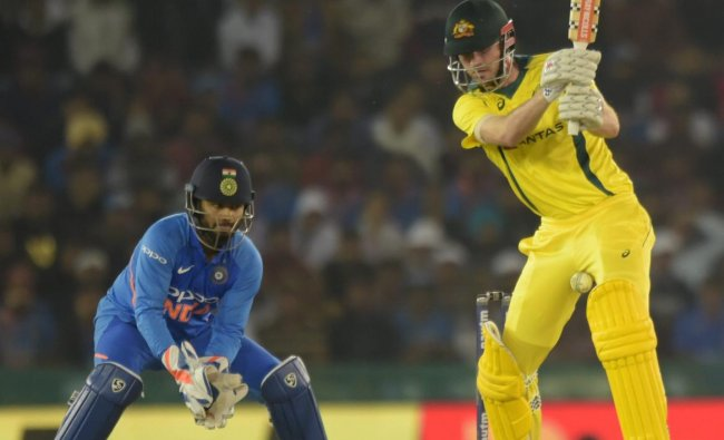 Mohali: Australian batsman Ashton Turner misses a delivery during the 4th ODI cricket match against India, in Mohali, Sunday, March 10, 2019. (PTI Photo/Vijay Verma)