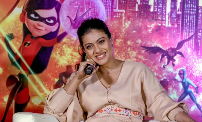 Bollywood actress Kajol Devgn during the trailer launch of Disney's action-adventure animation Hindi version film 'Incredible 2', in Mumbai on Friday. PTI Photo