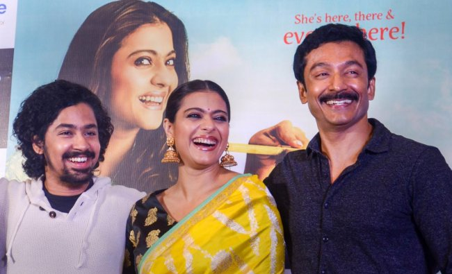 Bollywood actor Kajol during a promotion event for her upcoming movie \'Helicopter Eela\', in Kolkata. (PTI photo)