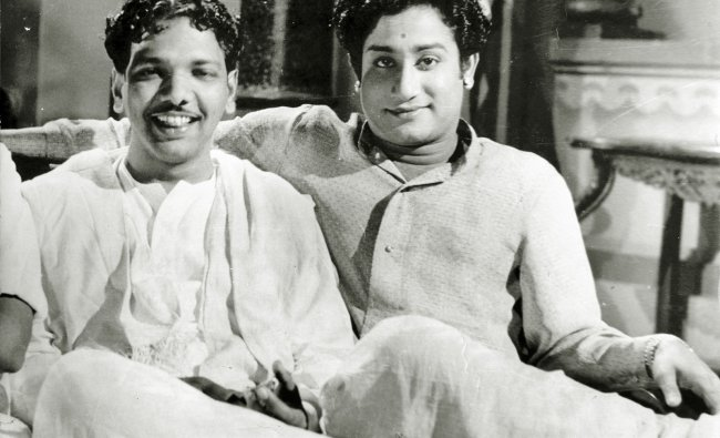 M Karunanidhi with his friend and actor Sivaji VC Ganesan (right).