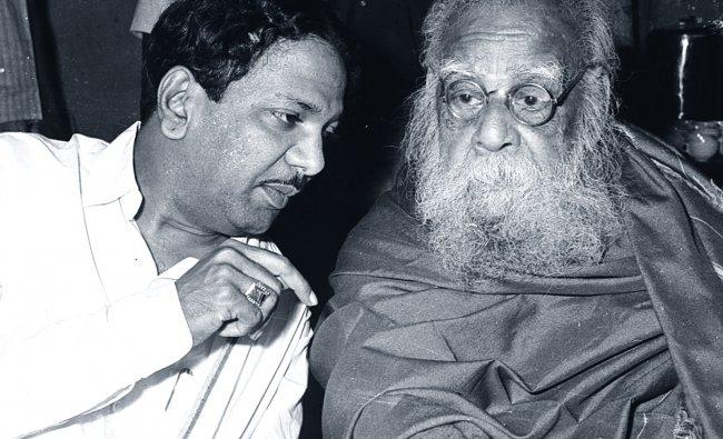 M Karunanidhi (left) with Periyar E V Ramasamy.