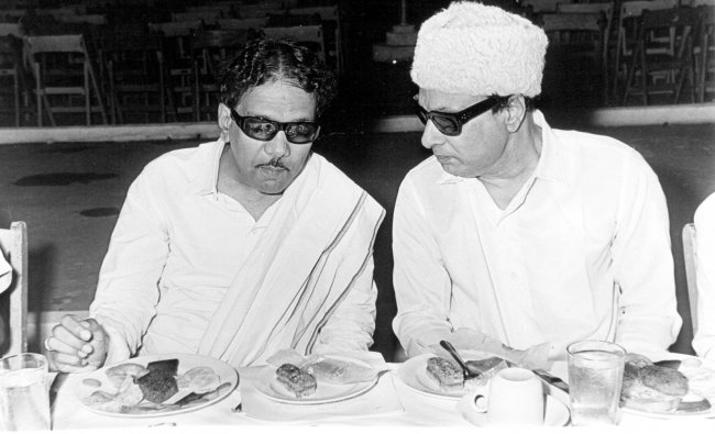 M Karunanidhi with M G Ramachandran.