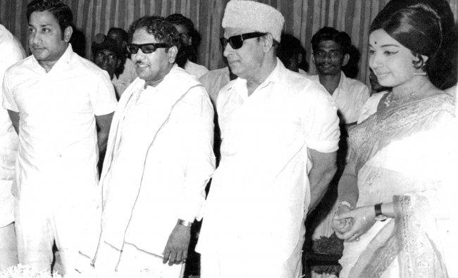 M Karunanidhi with long-time friends Sivaji VC Ganesan (extreme left), M G Ramachandran and J Jayalalithaa (extreme right).