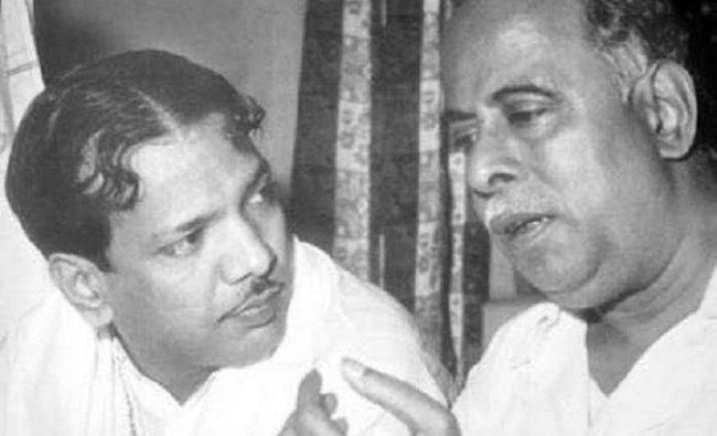 DMK President MKarunanidhiwith his mentor and party founder C N Annadurai.