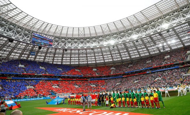 World Cup - Group A - Russia vs Saudi Arabia: General view as Russia and Saudi Arabia players line up before the match in Luzhniki Stadium, Moscow, Russia.