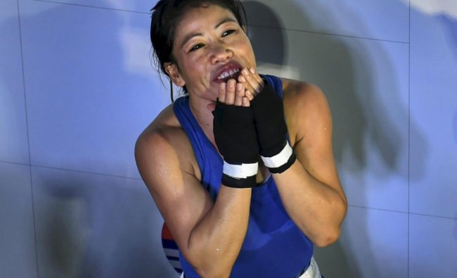 India\'s Mary Kom reacts after defeating Aigerim Kassenayeva of Kazakhstan in the women\'s light flyweight 48 kg category bout to enter quarterfinals at AIBA Women\'s World Boxing Championshipos, in New Delhi. PTI photo
