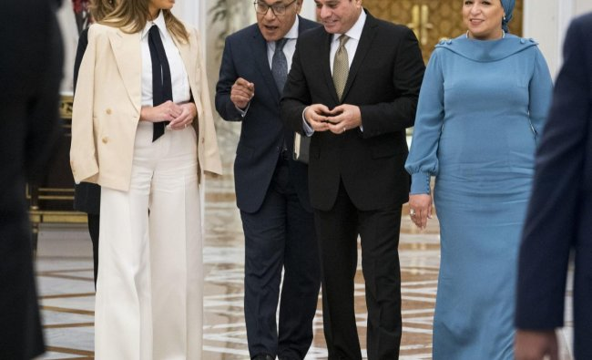 First Lady Melania Trump meets with Egyptian President Abdel Fattah al-SisiAbdel and Egyptian First Lady Entissar Mohameed Amer at the Presidential Palace in Cairo, Egypt on Saturday. (AP/PTI Photo)