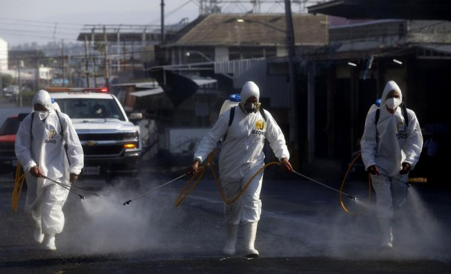 Workers use ozone to sanitize the Food Market area in Guadalajara, Mexico, as a preventive measure against the spread of the novel coronavirus COVID-19. (AFP Photo)