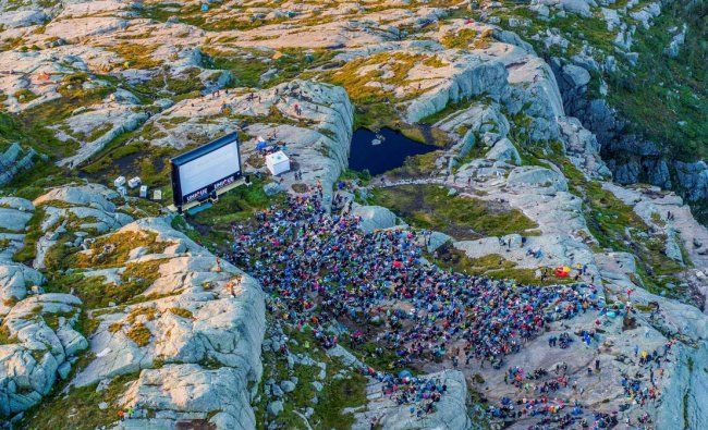 Fans hike up Pulpit Rock where Paramount Pictures organised a special screening of \