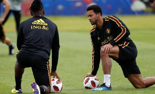 Belgium\'s Mousa Dembele during training. Reuters