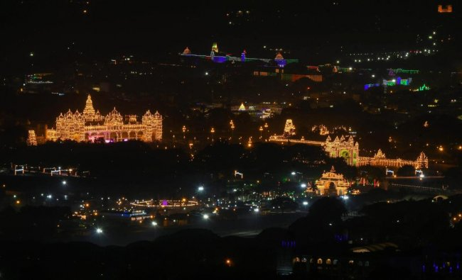 A view of the illuminated Mysore Palace during Dussehra celebrations, in Mysuru.(PTI photo)