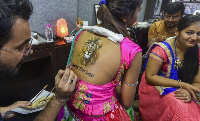 A woman gets her back painted on a theme to create awareness for \'Save the Lion\', ahead of Navratri festival in Ahmedabad on Friday. PTI Photo