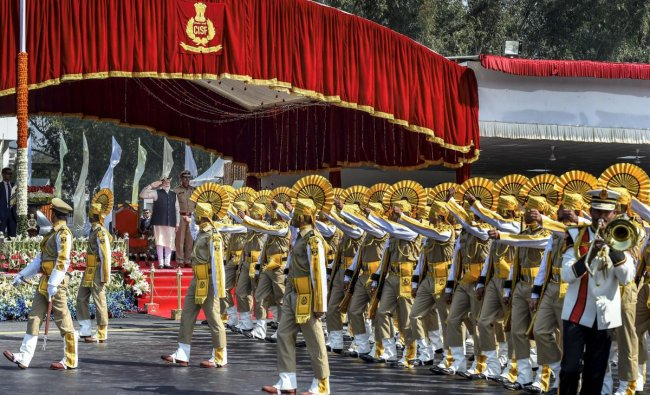 Ghaziabad: A contingent offers salute to Prime Minister Narendra Modi as he reviews the CISF\'s 50th Raising Day parade, in Ghaziabad, Sunday, March 10, 2019. (PTI Photo/Kamal Singh)