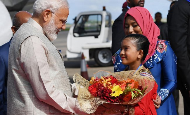 Prime Minister Narendra Modi being received on his arrival at Male Airport, in Maldives, Saturday, June 8, 2019. (PIB/PTI Photo)