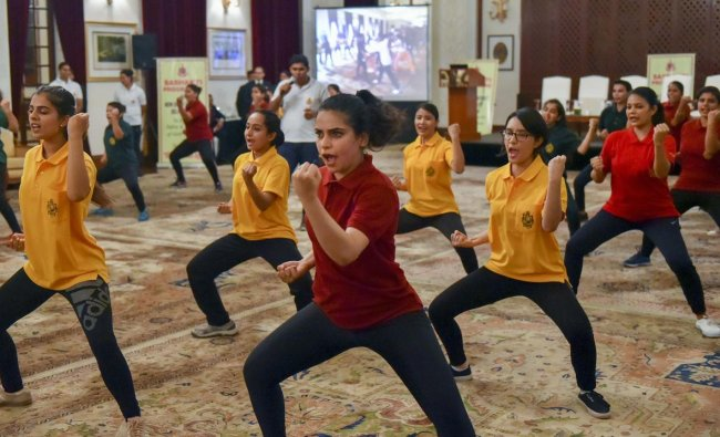 Participants show their skills during grand finale of a self defense workshop, organised by the Delhi Police, in New Delhi, Monday, Sept. 09, 2019. (PTI Photo)