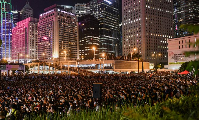 People attend a rally at Edinburgh Place in Hong Kong. (AFP)