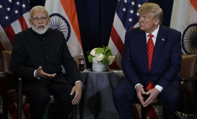 President Donald Trump meets with Indian Prime Minister Narendra Modi at the United Nations General Assembly, in New York. AP/PTI