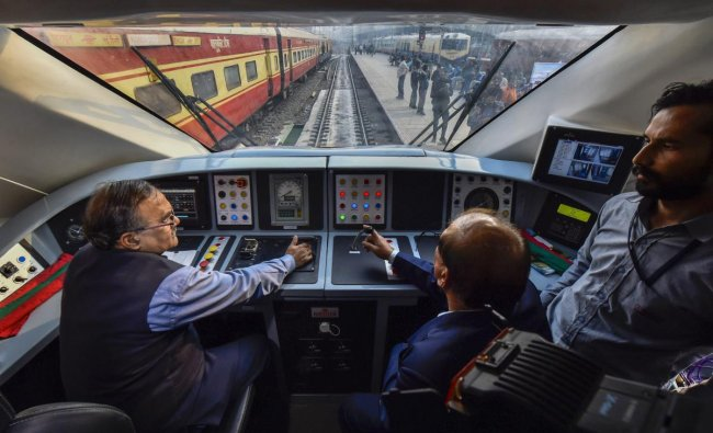 Cockpit of the country\'s fastest T-18 train, scheduled to run between New Delhi and Varanasi railway stations, at New Delhi Railway Station in New Delhi. PTI