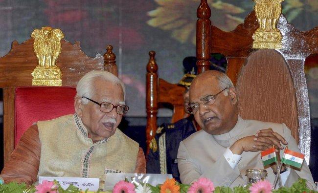 President Ram Nath Kovind with Uttar Pradesh Governor Ram Naik at CSA University, in Kanpur on Saturday.(PTI Photo)