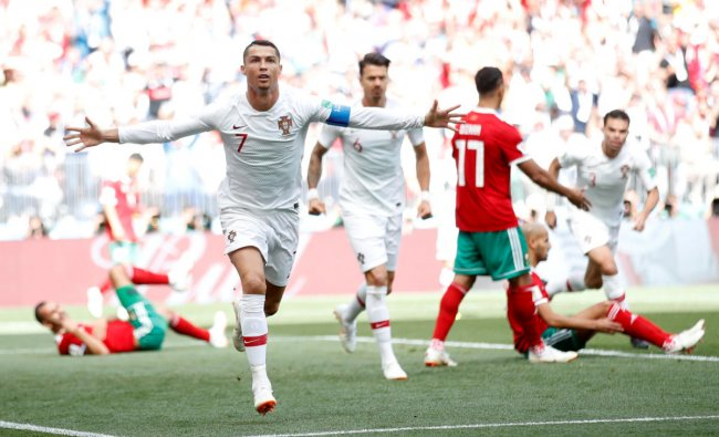 Soccer Football - World Cup - Group B - Portugal vs Morocco - Luzhniki Stadium, Moscow, Russia - June 20, 2018 Portugal\'s Cristiano Ronaldo celebrates scoring their first goal REUTERS