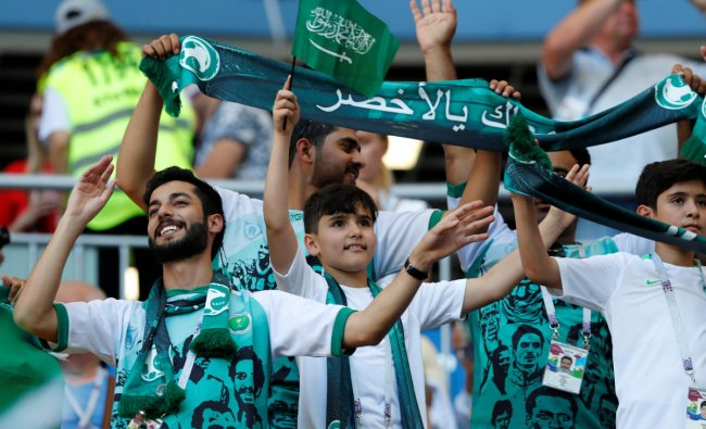 Soccer Football - World Cup - Group A - Uruguay vs Saudi Arabia - Rostov Arena, Rostov-on-Don, Russia - June 20, 2018 Saudi Arabia fans inside the stadium before the match REUTERS