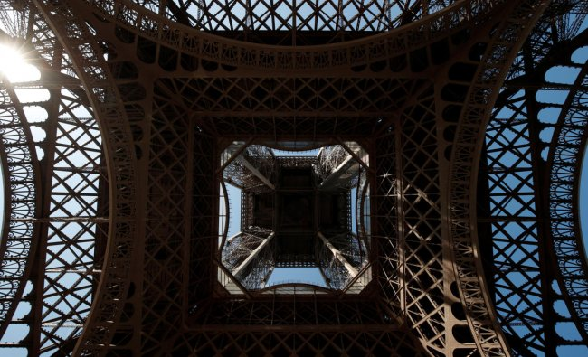 The Eiffel Tower is seen from below on a summer day in Paris, France, August 2, 2018. REUTERS/Benoit Tessier