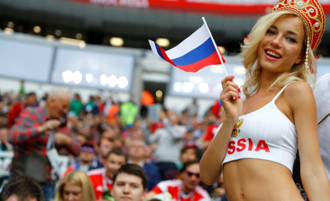 World Cup - Group A - Russia vs Saudi Arabia : Russia fan before the match in Luzhniki Stadium, Moscow, Russia. REUTERS