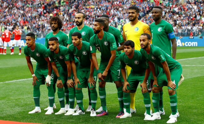 World Cup - Group A - Russia vs Saudi Arabia : Saudi Arabia players pose for a team group photo before the match in Luzhniki Stadium, Moscow, Russia. REUTERS