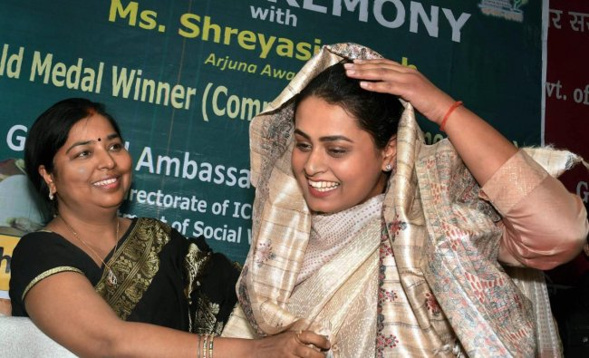 Arjuna Awardee Shreyasi Singh is felicitated after being appointed as Goodwill Ambassador for \'Poshan Abhiyaan\', in Patna. PTI