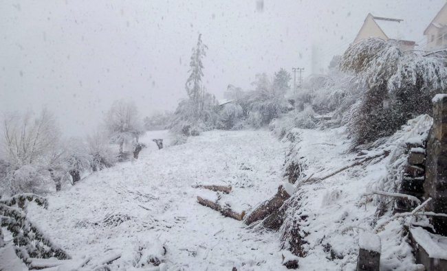 A view of the village as fresh snowfall covers the city of Kyelang.(PTI photo)