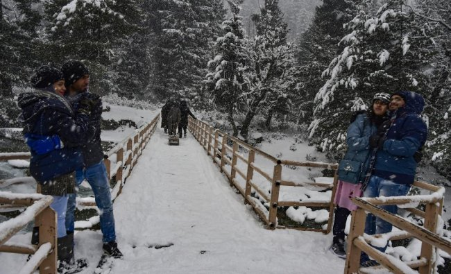 A tourist family enjoys during fresh snowfall at Gagangir in Ganderbal district of central Kashmir, Wednesday, Jan 2, 2019. Kashmir received its first snowfall of the New Year, breaking a month-long dry spell in the Valley. PTI