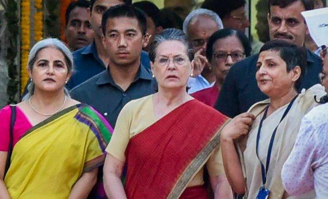 Former Congress President Sonia Gandhi during the inauguration of a new ward at Kamala Nehru Memorial Hospital, in Allahabad. (PTI photo)