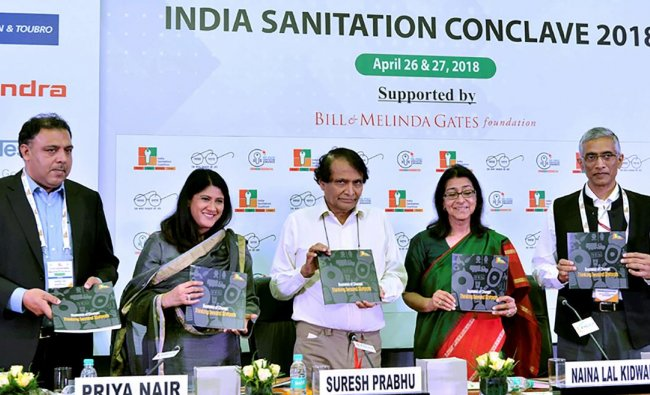 Minister of Commerce & Industry Suresh Prabhu with Chair, India Sanitation Coalition Naina Lal Kidwai during ISC-FICCI Sanitation Awards & India Sanitation Conclave 2018 at FICCI in New Delhi on Thursday. PTI Photo