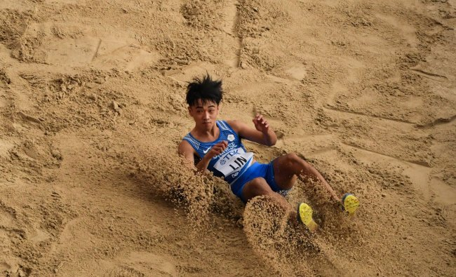 Taiwan\'s Lin Chia-Hsing competes in the Men\'s Long Jump heats at the 2019 IAAF World Athletics Championships at the Khalifa International stadium in Doha. (AFP)