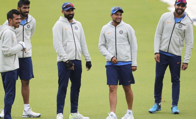 Indian players attend a training session ahead of their Cricket World Cup match against Pakistan at Old Trafford in Manchester, England, Saturday, June 15, 2019. AP/PTI