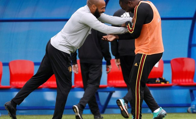 Belgium assistant coach Thierry Henry and Romelu Lukaku during training. Reuters