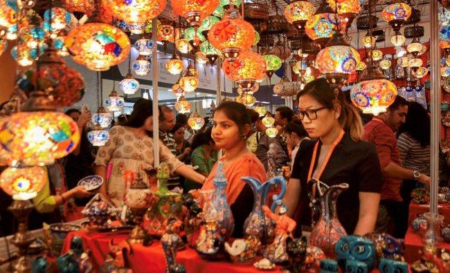 Visitors at a stall at India International Trade Fair, 2018, Pragati Maidan in New Delhi. PTI Photo