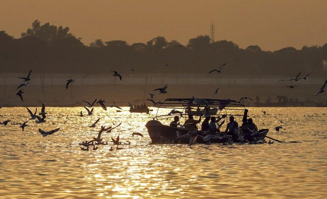 Allahabad: Birds frequenting the River Ganga as a boat carrying devotees ferries across, on a picturesque morning, at Sangam, in Allahabad, Saturday, Nov.24, 2018. (PTI Photo)