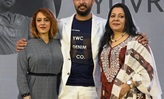 Cricketer Yuvraj Singh with his mother Shabnam and wife Hazel Keech at the event \'In Conversation With Yuvraj Singh\' in Mumbai, Monday, June 10, 2019. Singh has announced his retirement from international cricket. (PTI Photo/Shirish Shete)