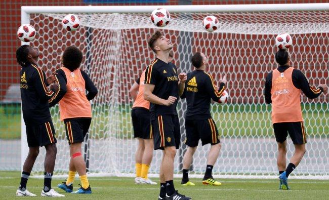 Belgium\'s Thomas Meunier and team mates during training. Reuters